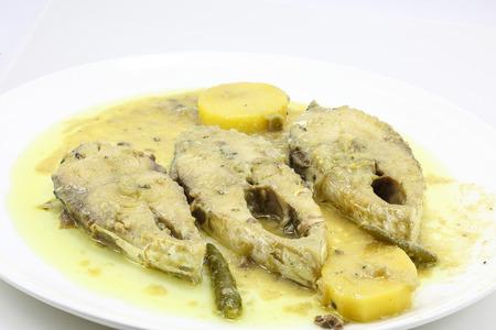 bengali: Mustard Hilsha Fish Shorshe Ilsish curry delicacy cuisine Bengali Stock Photo