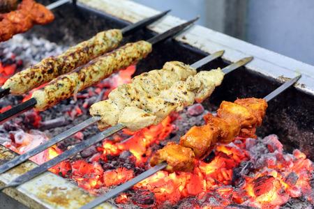 kabab: Chicken Lamb Beef Mixed Kebab tikka kabab on charcoal flame grill