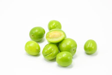 gage: Green gage greengage fruit plum on white background Stock Photo