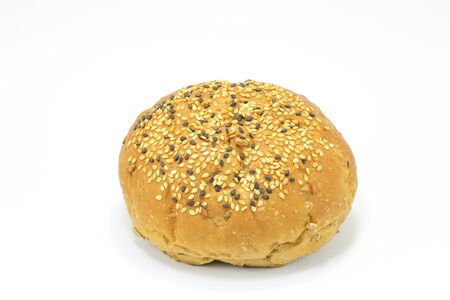 multi grain: Multi grain bread bun on white background