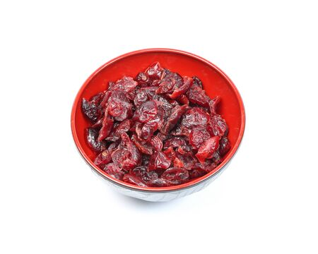 cranberry fruit: Dried Cranberry Fruit tasty healthy berry on white background in a bowl Stock Photo
