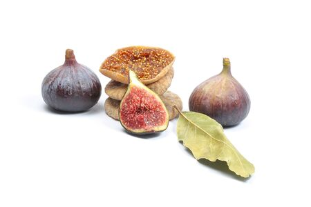 Common Fig Fruit Flower on white background fresh raw dried