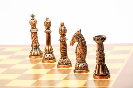 pawn to king: Chess set board game strategy king queen bishop knight rook pawn