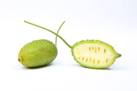 spiny: Spiny gourd green fruit vegetable kakrol on white background