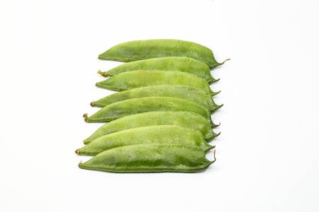 Green Flat Bean young fresh on white background