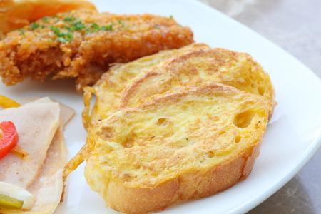 hash: Breakfast set chicken salami hash brown toast slice pastry Stock Photo