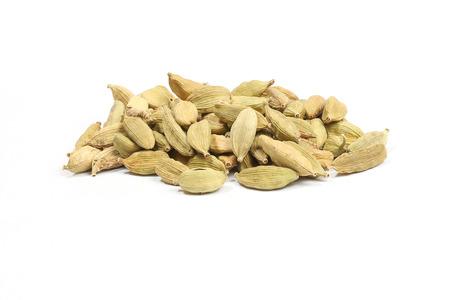 Cardamom elachi dry fragrant aromatic spice on white background Stock Photo