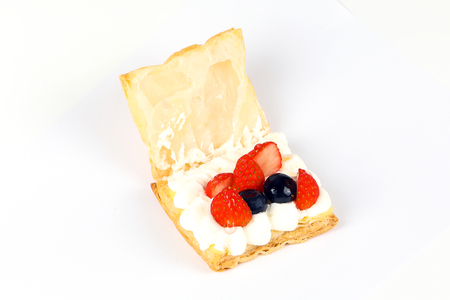 creampuff: Fruity cream puff pastry on white background