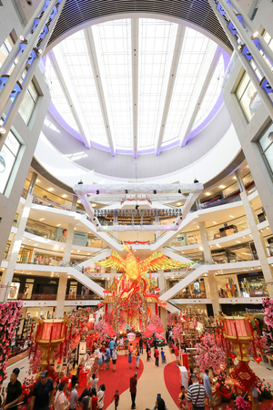 PAVILION MALL, KUALA LUMPUR, MALAYSIA- JANUARY 15, 2017: -documentary- Chinese New Year is the most happening holiday season not only in China but most of the south east Asian countries. Decorating the shopping malls for CNY is enjoyed by shoppers and bel Editorial