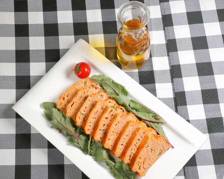 meatloaf: Meatloaf slice red chard leaf Stock Photo
