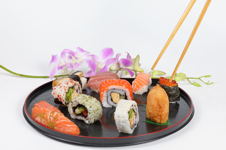 Sushi colorful tasty variety healthy Japanese food