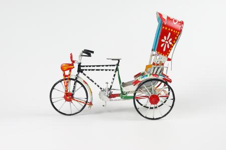 Colorful rickshaw toy model trishaw transport tricycle
