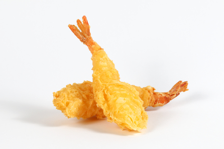 Prawn Tempura deep fried battered shrimp on white background