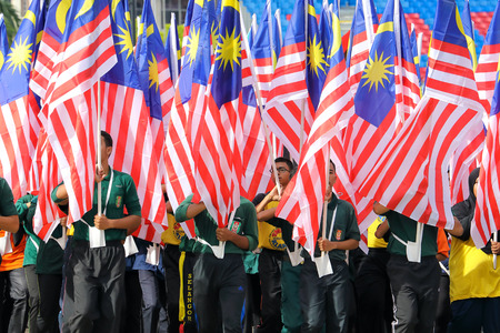 KUALA LUMPUR, MALAYSIA- AUGUST 27, 2017: Independent Square. Full dress rehearsal for the Malaysian Independence day celebration parade held on August 31 every year.