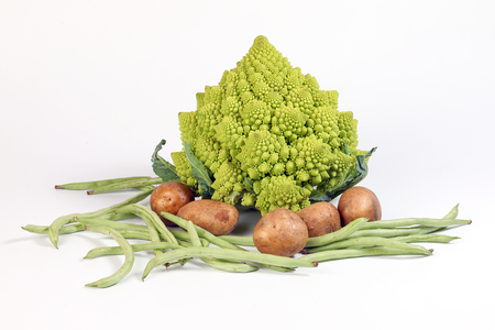 Romanesco broccoli French Green Bean potato on white background