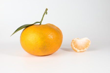 Giant Mandarin Orange Tangerine fruit on white background