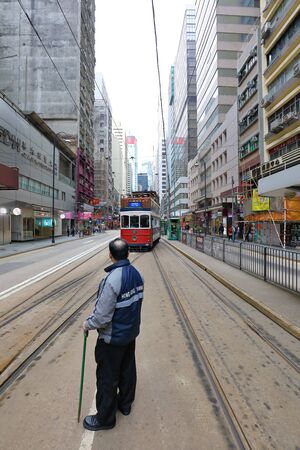HONG KONG- FEBRUARY 18, 2018-Western Market Terminus is one of the termini in Hong Kong Tramways. One of the starting point for TramOramic Tour on a 1920s-style open top tram. Redactioneel