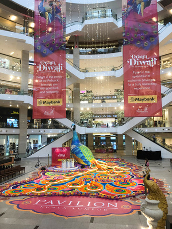 BUKIT BINTANG, MALAYSIA – November 1, 2018: the Kolam or rice art for Hindu festival of  Deepavali at Pavilion Mall. Is one of the largest and grandest this year. Editorial