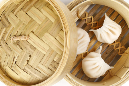 Dim Sum dumpling variety chicken prawn vegetable stuffed steamer Stock Photo