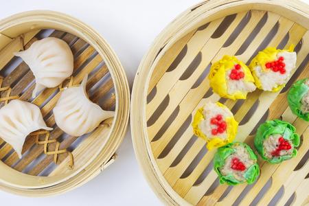 Dim Sum dumpling variety chicken prawn vegetable stuffed steamer 版權商用圖片