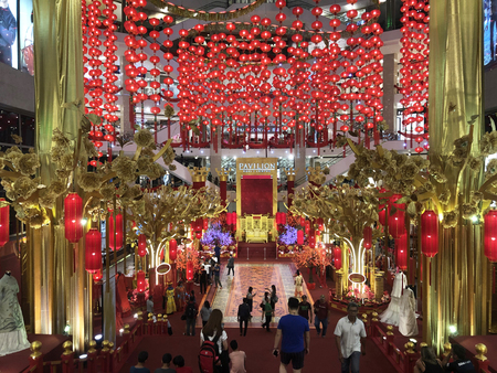 KUALA LUMPUR, MALAYSIA – January 24, 2019: Chinese New Year is celebrated I south east Asia. It's one of the time all business prepare to spread joy in colourful decatron.