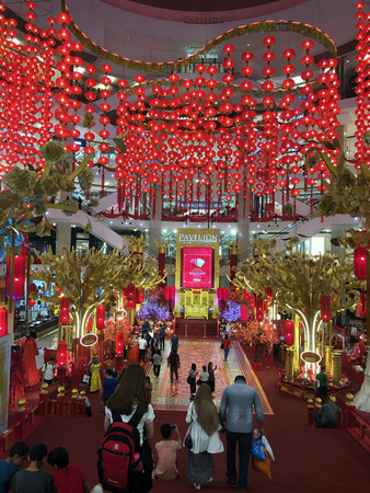 KUALA LUMPUR, MALAYSIA – January 24, 2019: Chinese New Year is celebrated I south east Asia.  It's one of the time all business prepare to spread joy in colourful decatron. Publikacyjne