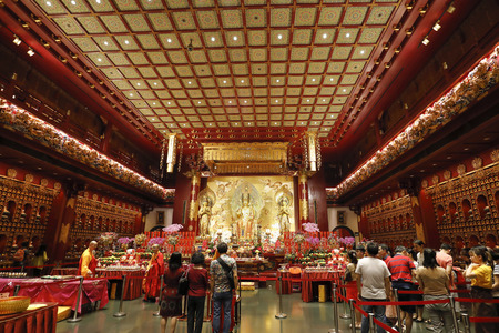 SINGAPORE – February 06, 2019: The Buddha Tooth Relic Temple and Museum is a Buddhist temple and museum complex located in the Chinatown district of Singapore.