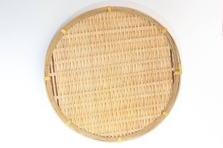 Empty Round Bamboo Tray plate on white background