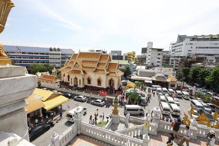 Bangkok, Thailand- June 28, 2017- Wat Traimit Withayaram Worawihan and its surrounding monastery is one of the most visited places by tourist and devotees