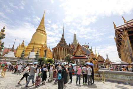 Bangkok, Thailand- June 28, 2017- Wat Phra Kaew, in English the Temple of the Emerald Buddha and officially as Wat Phra Si Rattana Satsadaram, is regarded as the most sacred Buddhist temple.