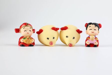 Chinese New Year rat mouse shaped cookie boy girl doll 版權商用圖片