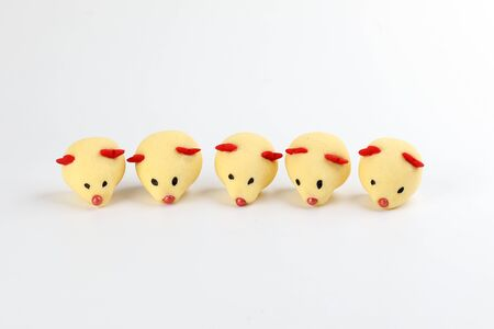 Chinese New Year rat mouse shaped cookie on white background