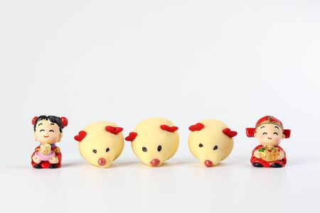 Chinese New Year rat mouse shaped cookie boy girl doll on white background