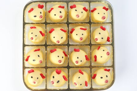 Chinese New Year rat mouse shaped cookie on tray
