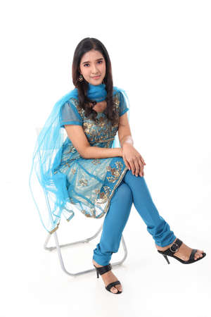 South east Asian Indian race ethnic origin woman wearing Indian dress costume salwar kameez multiracial community on white background