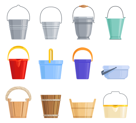 Set of different iron, plastic and wooden buckets of different shapes. Vector cartoon illustration.