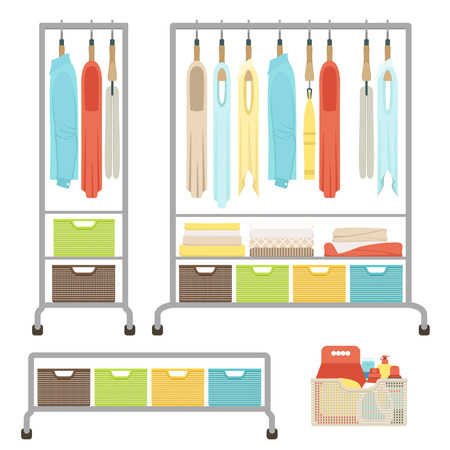 Set of different clothes hanging on hangers on a rack on wheels. Baskets for linen and towels. Means for washing and cleaning in the basket. Vector illustration