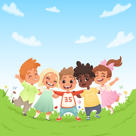 Group of happy joyful children on a green glade and the background of blue sky with clouds. Vector modern illustration