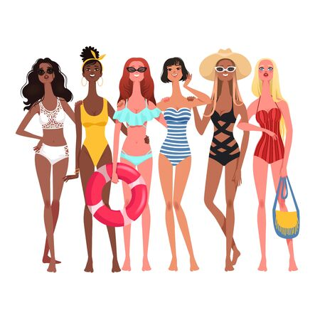Company of six fashionable beautiful girls in bright swimsuits with beach attributes. Vector modern illustration Ilustração