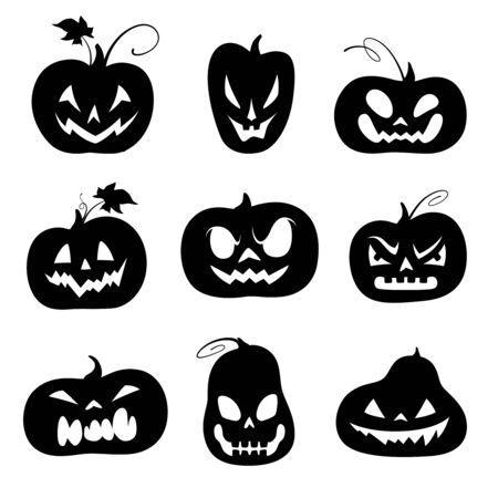 Set of black silhouettes of carved pumpkins for Halloween. Vector illustration