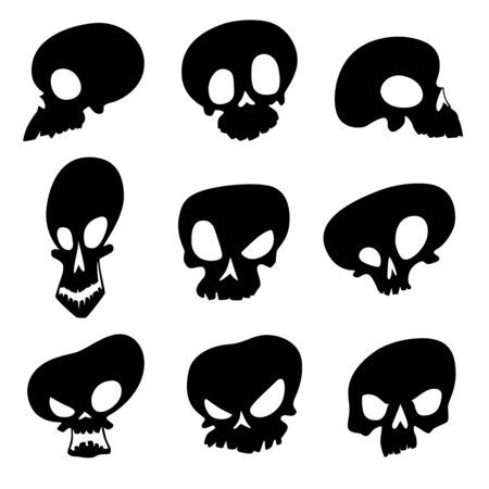 Set of black silhouettes of ominous skulls with different emotions for Halloween. Vector illustration Vetores
