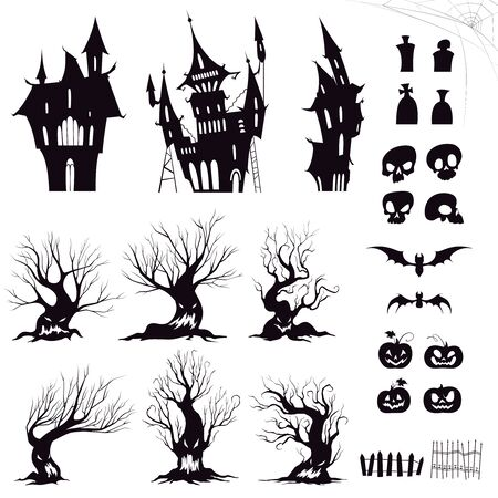 Set of silhouettes for halloween gloomy house, sinister trees, fences, graves, skulls, pumpkins and bats. Vector illustration Иллюстрация