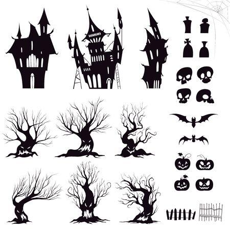 Set von Silhouetten für düsteres Halloween-Haus, finstere Bäume, Zäune, Gräber, Schädel, Kürbisse und Fledermäuse. Vektor-Illustration