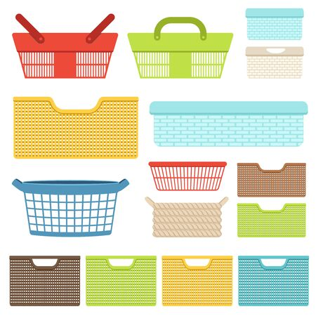 Set of empty plastic containers and baskets for the bathroom or shops. Plastic boxes for laundry and storage of objects. Vector illustration