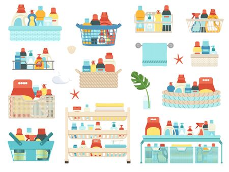 Set of household chemicals, shampoos and hygiene products for the bathroom in baskets. Shelf on wheels with powder and soap and bathroom accessories. Vector illustration