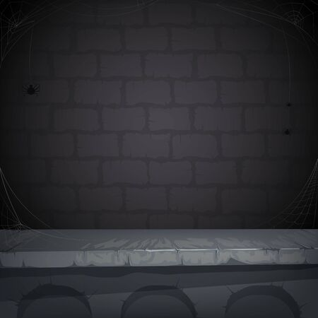 Sinister background with a stone wall, cobwebs and spider for Halloween. Vector illustration