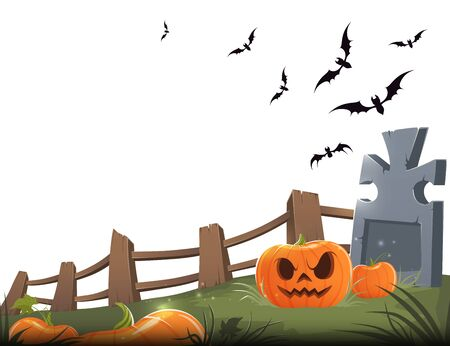 Sinister carved pumpkin with a grave, wooden fence and bats on a white background. Vector illustration
