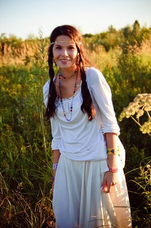 downshift: Smiling hippie girl in locking light