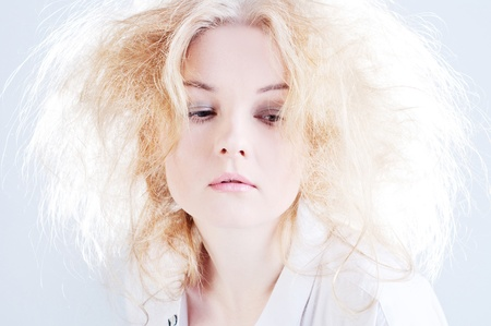 Sensual woman with fluffy hair. Stock Photo