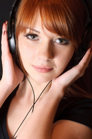 Pretty girl in headphones.
